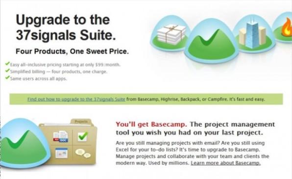 Produktivität rund um den Projektmanager Basecamp: Die Tools von 37Signals wurden zwischenzeitlich sogar als Konkurrenz für die Google-Apps gehandelt. (Screenshot: 37signals.com)