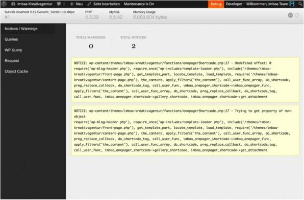 """Die Konstante """"WP-Debug"""" sorgt dafür, dass der Server Probleme in der aufgerufenen Seite meldet. Deutlich komfortabler und übersichtlicher als mit der Standard-Ausgabe geht die Fehlersuche mit der Erweiterung """"Debug Bar""""."""