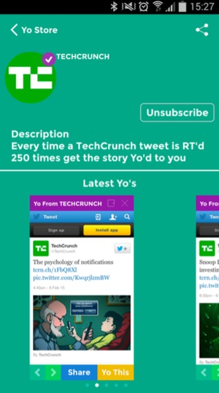 Das US-amerikanische Magazin Tech-Crunch sendet seinen Yo-Abonnenten nur besonders beliebte News.