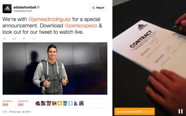 Kundenbindung hautnah: Adidas streamte die Vertragsunterzeichnung des Fußballspielers James Rodriguez live per Periscope.