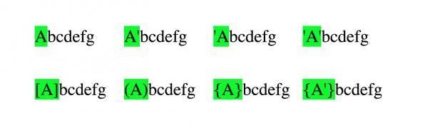Das ::first-letter Pseudo-Element selektiert, welcher Teil deines Springs als erstes Zeichen gesehen werden sollte.