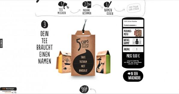 Beim Tee-Web-Shop 5Cups kann man sich Tee selbst zusammenstellen - und über einen Teenamen-Generator individuelle Labels mitbestellen. Ein Beispiel für gelungene User Experience.
