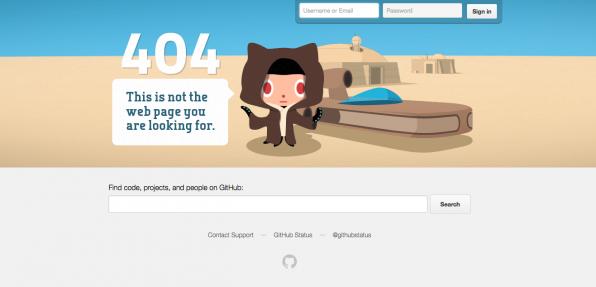 Witzige 404-Fehlerseiten machen aus einem frustrierenden ein humorvolles Erlebnis. Wie etwa die GitHub-Fehlerseite, die an eine Filmreihe erinnert, die den Nutzern sicherlich vertraut sein dürfte.