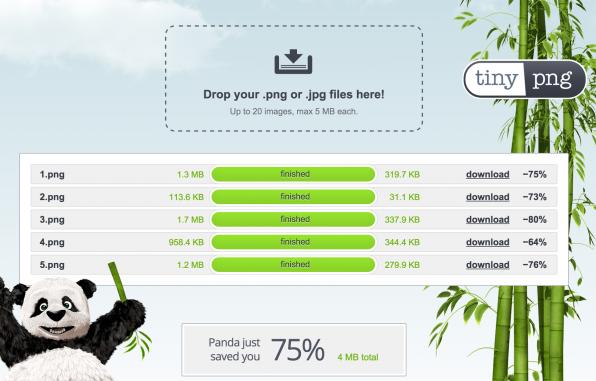 Einsparungen von über 50 Prozent sind bei der Kompression von PNGs keine Seltenheit. Das Tool tinypng hilft dabei.