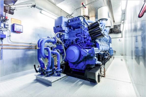Gut gerüstet gegen Stromausfälle: Ein solches Diesel-Aggregat gewährleistet die Stromversorgung auch im Ernstfall, wie hier bei 1&1.