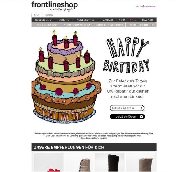 Kundenbindung durch Geburtstagsgrüße mit kleinen Extras – Das macht frontlineshop vor und sorgt so für Freude bei Kunden.