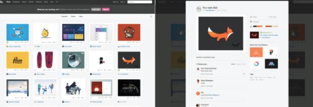Die soziale Plattform für Kreative Dribbble setzt das Card Design – wie Pinterest – konsequent um. Um längere Inhalte zu sehen, können Nutzer scrollen. (Screenshot: t3n)