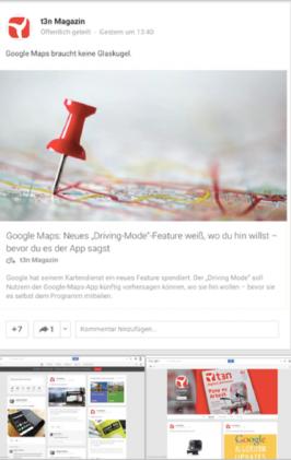 Google+ setzt Card Design für eine nahtlose User-Experience ein und bietet zusätzliche Interaktionsmöglichkeiten wie Kommentare und +1-Angaben direkt innerhalb der Card. (Screenshot: t3n)
