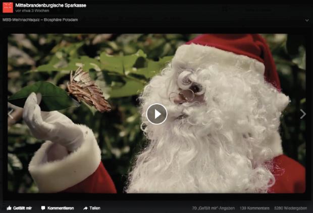 Die MBS aktiviert die Facebook-Community mit einem Video-Weihnachtsquiz. Hier besucht Santa Claus die Biosphäre Potsdam.