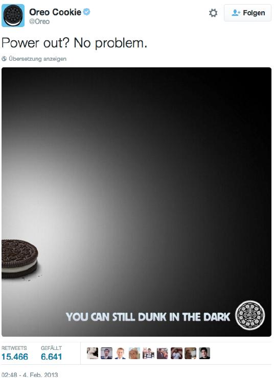 Oreo konterte den Stromausfall beim Super Bowl 2013 mit diesem Tweet und erreichte damit 10.000 Retweets in nur einer Stunde.
