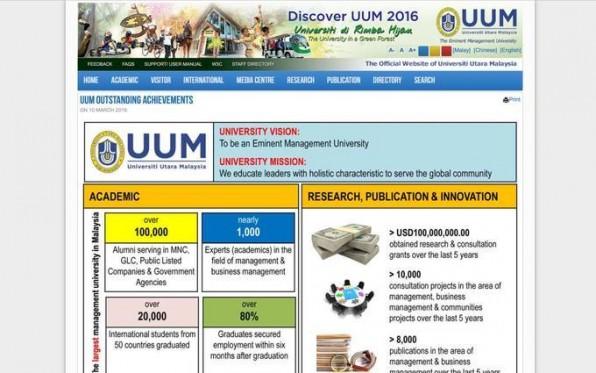 Die Website der Universiti Utara Malaysia ist typisch für Kulturen mit hoher Machtdistanz: Sie betont nationale und institutionelle Symbole sowie die führenden Kräfte.