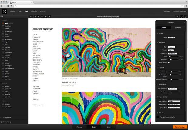 Das CMS Koken richtet sich vor allem an Fotografen und andere Kreative, die ohne großen Aufwand ein Portfolio erstellen wollen. (Screenshot: Koken)
