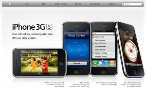 Apple-Website mit dem iPhone 3G S