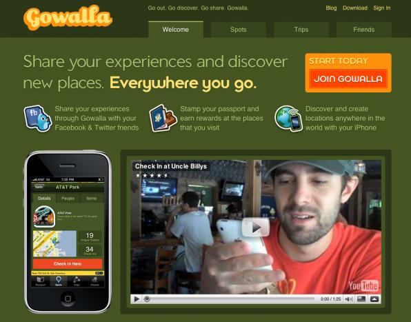 Homepage von Gowalla
