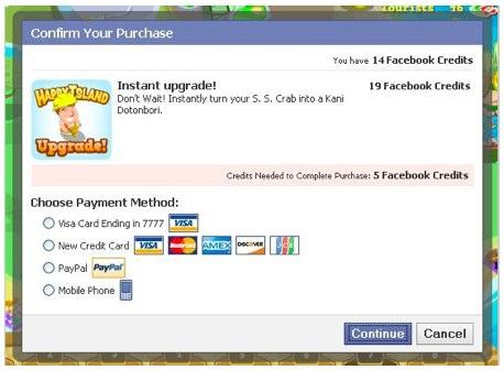 Beispielhafte Facebook Credits Umsetzung
