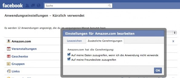 Amazon Facebook Einstellungen