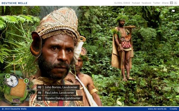 Interaktive WebDoc 'Waldschutz in Papua-Neuguinea' der Deutschen Welle, veröffentlicht 2010