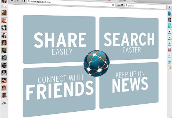Gleich nach dem Start wird die Ausrichtung von RockMelt als Social Media Browser mit einem Schwerpunkt auf Facebook deutlich.