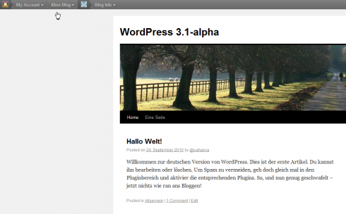 WordPress 3.1 Admin Bar