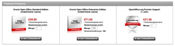 Preisstaffelungen bei Oracle Open Office.