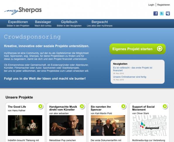 Startup Vorstellung: mySherpas Webseite