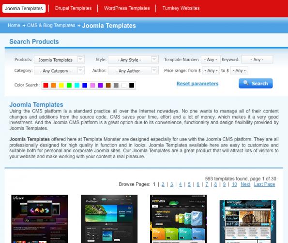 Joomla-Templates: Allein 593 auf TemplateMonster.com.
