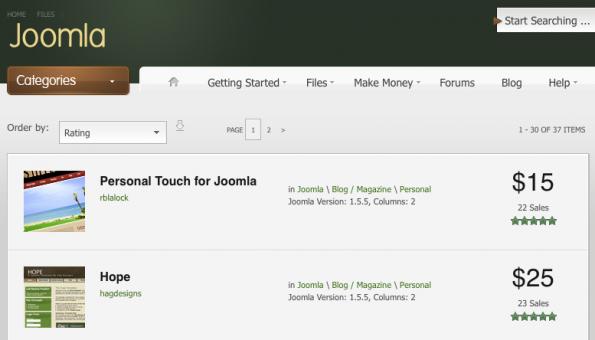 Joomla-Templates: Große Template-Auswahl auf Themeforest.