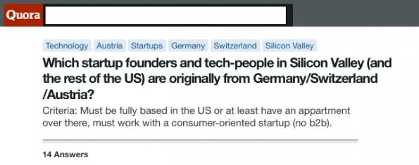 Quora: Wo sind die deutschen Startup-Gründer im Silicon Valley?