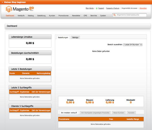 Der Admin-Bereich von Magento Go