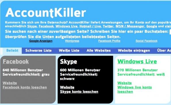 AccountKiller sc 595x365 AccountKiller: Accounts bei Facebook, Twitter, Google & Co. löschen leicht gemacht