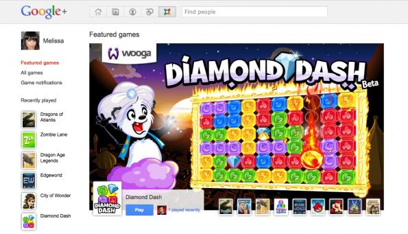 Ein Beispiel für die neuen Google+ Games.