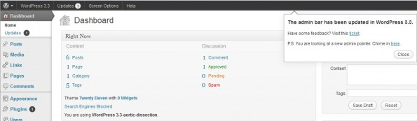WordPress33 admin pointer admin bar 595x173 WordPress 3.3: Das bringt die neue Version