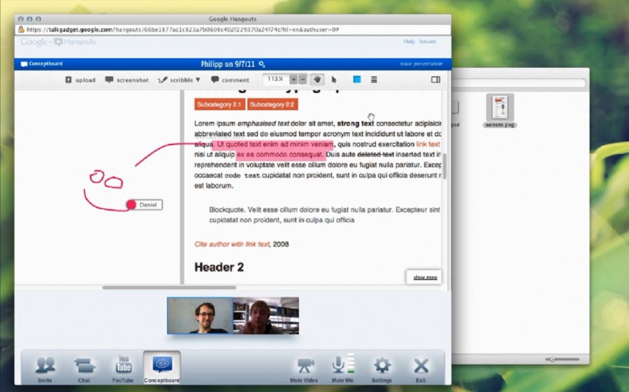 Conceptboard: Integration in Google+ Hangouts