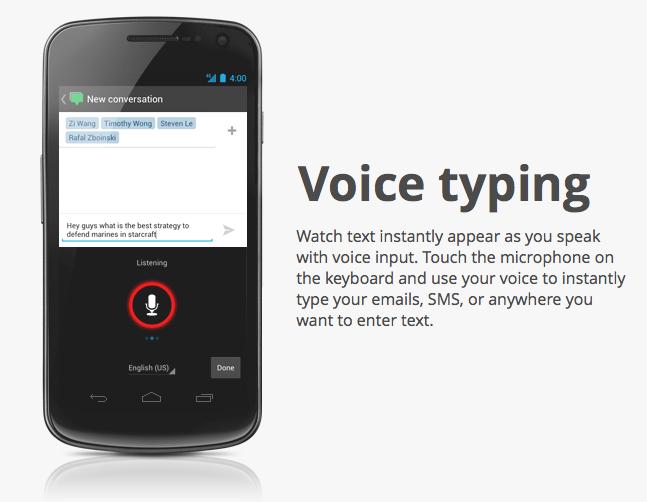 Android 4: Verbesserte Spracherkennung