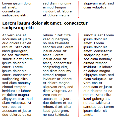 CSS3: Dreispaltiger Text mit gesamtbreiter Überschrift