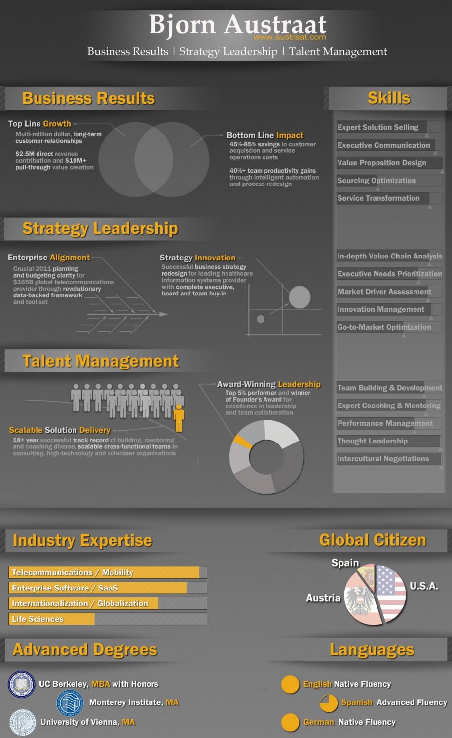 kreative darstellung - lebenslauf als infografik