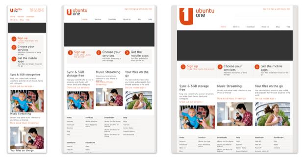 Responsive Webdesign: Die Ubuntu ONE Website in unterschiedlichen Auflösungen