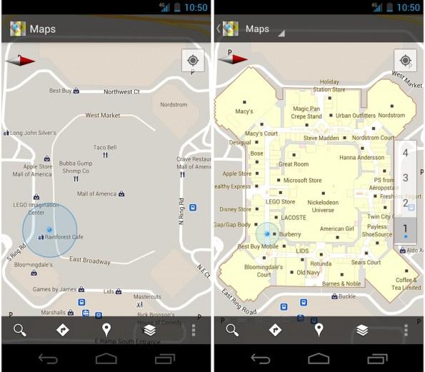 Google Maps 6.0 vorher nachher 595x521 Google Maps 6.0 mit IKEA und Co.   Kartierung von Innenräumen [Video, Screenshots]