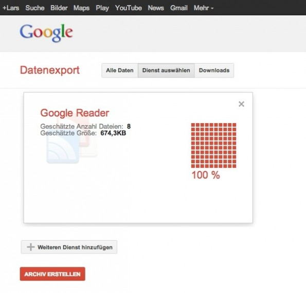 Google Reader Export