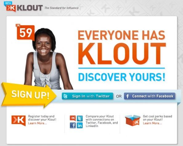 Klout legt auch automatisch Profile an.