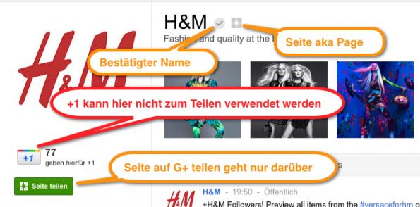 Google+ Pages: Die Anatomie der Google+ Seite von H&M