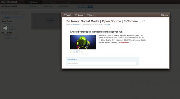 Auf der Anwender-Homepage von Clipboard hat der Nutzer jederzeit Zugriff auf alle von ihm gespeicherten Elemente.