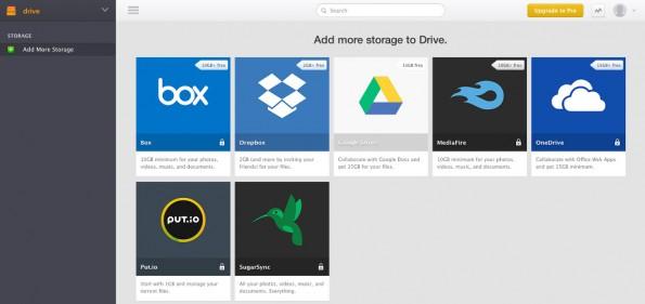 Drive verbindet Dropbox mit anderen Cloud-Speichern. (Screenshot: Drive)