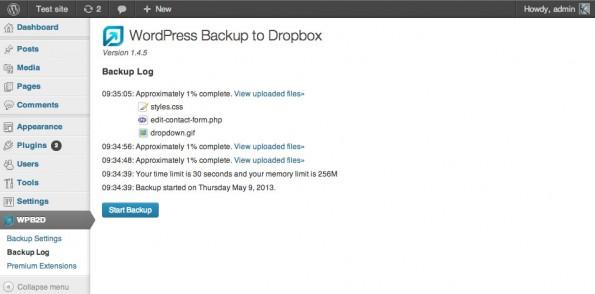 Ihr könnt Dropbox auch für Backups eures Blogs nutzen. (Screenshot: WordPress)