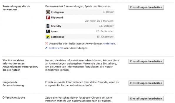 facebook chronik anwendungen