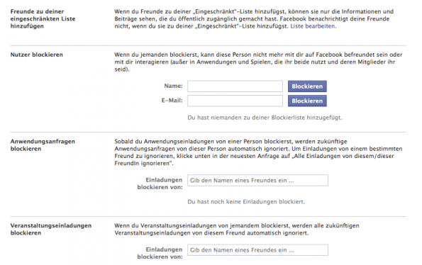 facebook chronik block