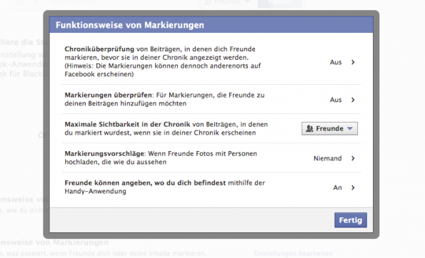 facebook chronik markierungen