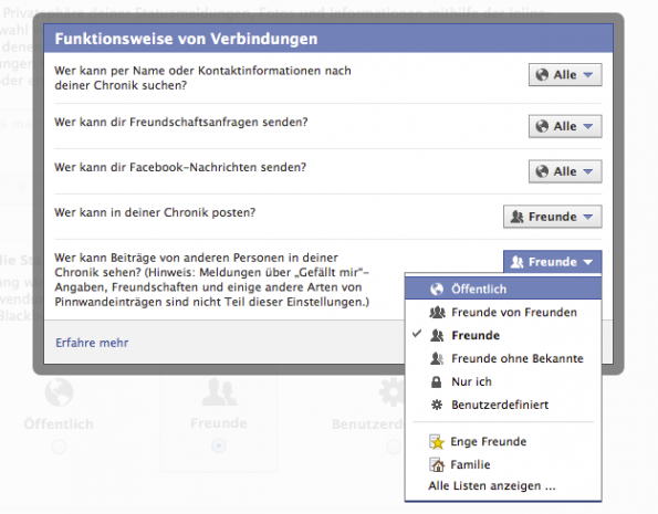 facebook chronik verbindungen