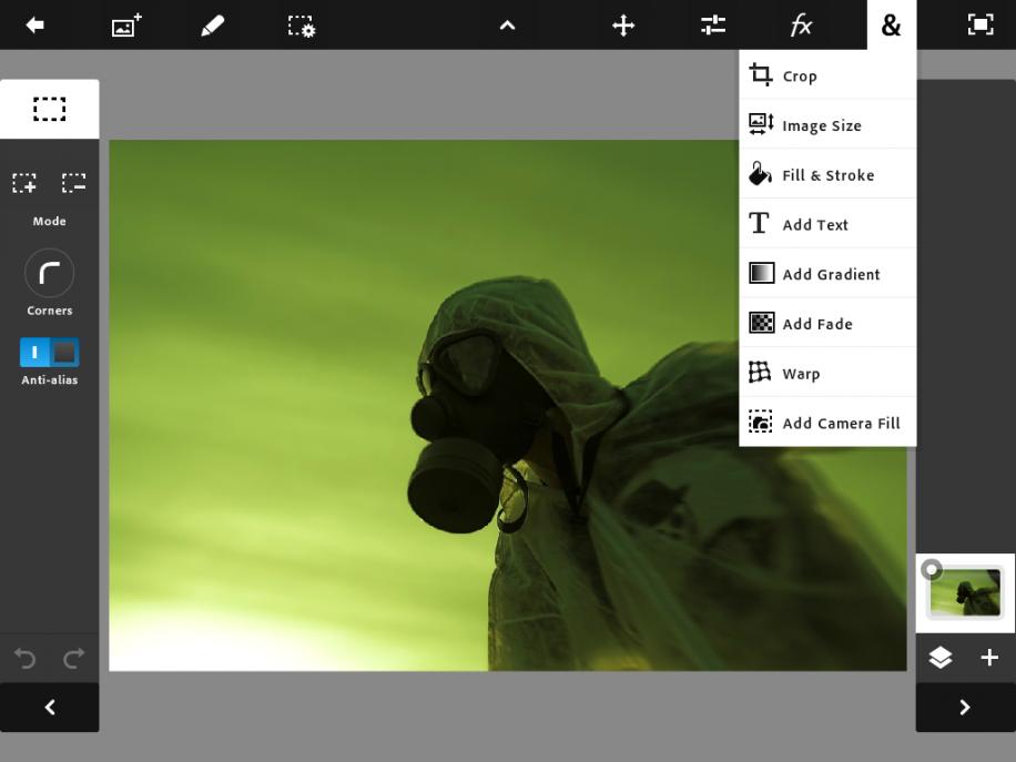 Adobe Photoshop Touch wartet unter iOS mit den gängisten Funktionen der ausgewachsenen Desktop-Bildbearbeitung auf.