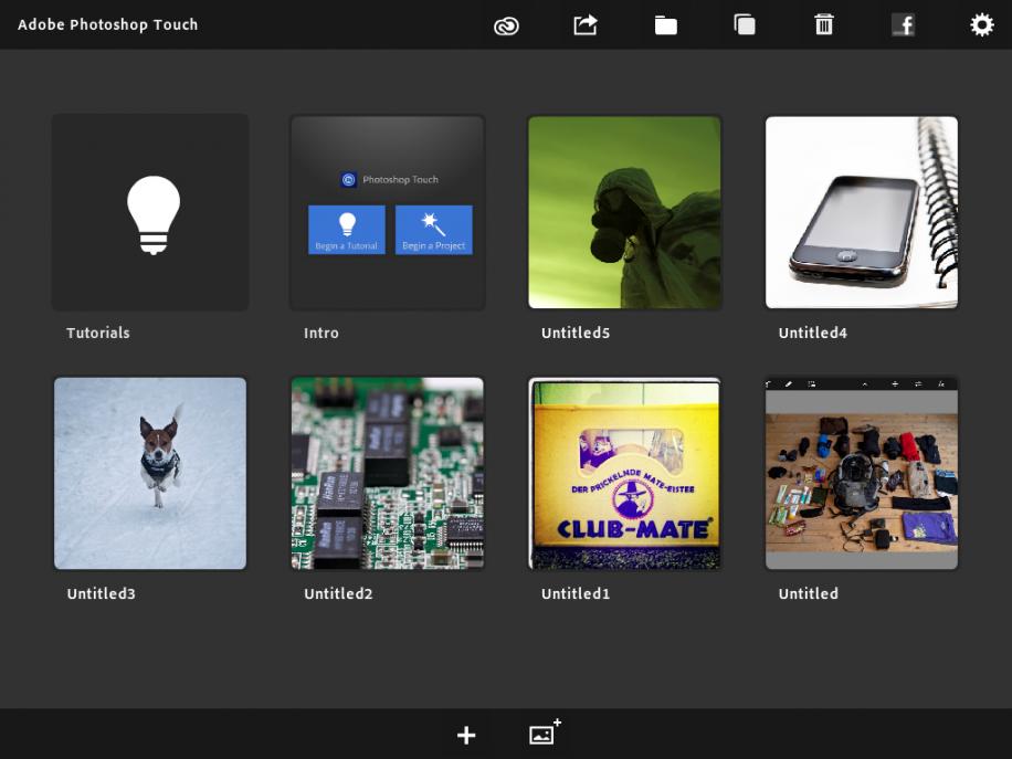 Der Startbildschirm von Photoshop Touch zeigt alle gespeicherten Projekte.